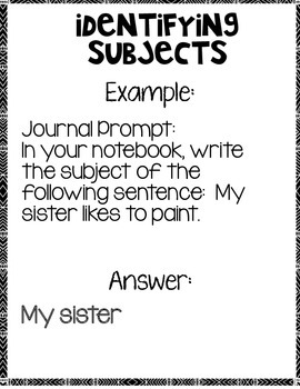 Identifying Subjects Language Arts Notebook