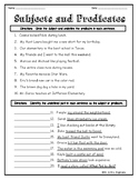 Identifying Subjects and Predicates Worksheet