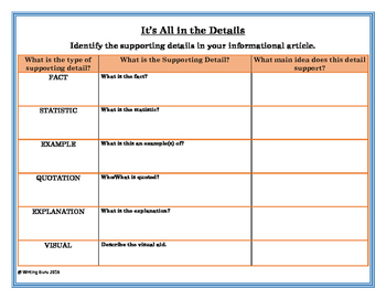 Identifying Supporting Details