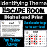Identifying Theme Escape Room - ELA (Reading Comprehension Passages)