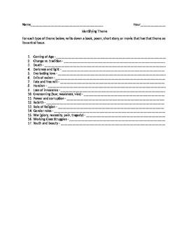 Identifying Themes Worksheet