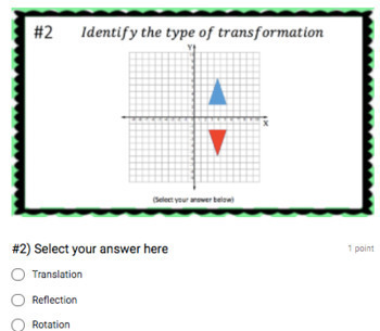 Identifying Transformations (Google Form & Interactive Video Lesson!)