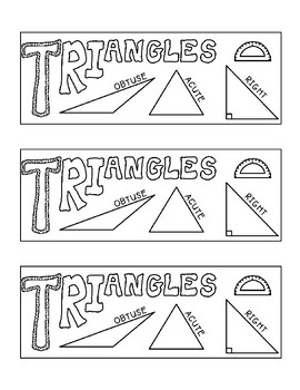 Identifying Triangles Acute Obtuse Right Coloring Geometry Printable