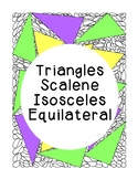 Identifying Triangles Scalene Isosceles Equilateral Geomet