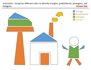 Identifying Triangles,Quadrilaterals,Pentagons,and Hexagons(H&I Activity Sheets)