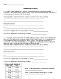 Identifying Variables Practice Worksheet