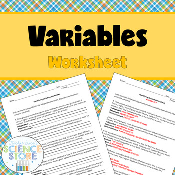 Identifying Variables Worksheet by Teacher Erica's Science Store