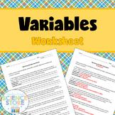 Identifying Variables Worksheet