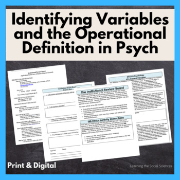 Identifying Variables and the Operational Definition in Psychology Studies