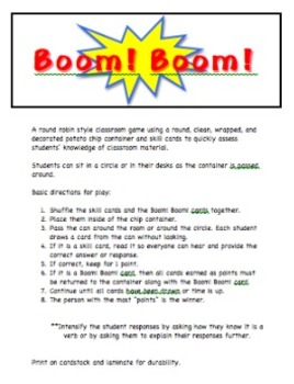 Identifying Verbs Classroom Game: Boom!Boom!