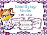 Identifying Verbs Task Cards- Color & B&W