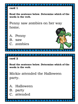 Identifying Verbs for Elementary Students:   Halloween Themed
