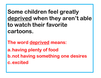 Identifying Vocabulary using Context Clues within a Sentence
