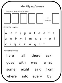 Identifying Vowels Worksheet