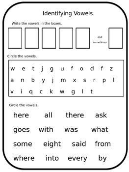 Identifying Vowels Worksheet