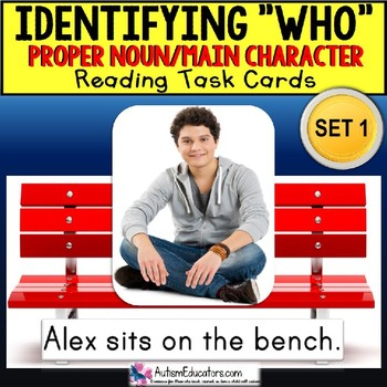 """Identifying WHO Task Cards PROPER NOUNS """"Task Box Filler"""" for Special Education"""