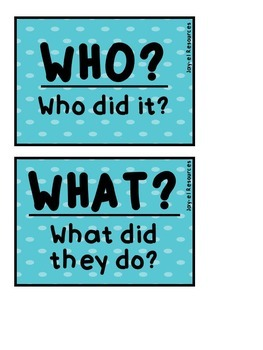 Identifying Who, What, When, Where, Why, & How in Text Task Cards!