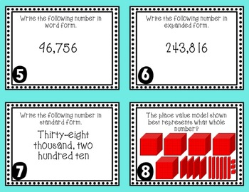 Identifying Whole Numbers Task Cards