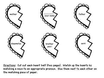 Identifying, Writing, and Sorting Nouns and Pronouns ValentineThemed!
