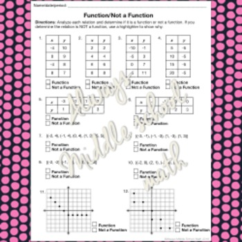 Identifying a Function: Graphic Organizer and 22-question worksheet