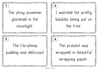 Identifying adjectives task cards - Christmas and winter theme