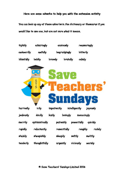 Identifying adverbs and what they tell us Worksheets and List of Adverbs