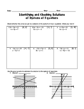 Identifying and Checking Solutions of a System of Equations