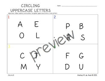 Pre-K Identifying and Circling Uppercase Letters Worksheets
