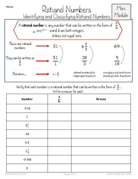 Identifying and Classifying Rational Numbers (Mini Module)