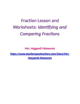 Identifying and Comparing Fractions Lesson and Worksheets