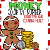 Identifying and Counting Money Color-By-Number Christmas Themed