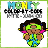 Identifying and Counting Money Color-By-Number Earth Day Themed