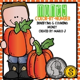 Identifying and Counting Money Color-By-Number Fall Themed