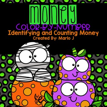 Identifying and Counting Money Color-By-Number Halloween Themed