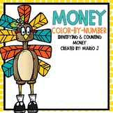 Identifying and Counting Money Color-By-Number Thanksgiving Themed