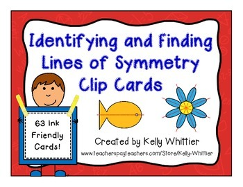 Identifying and Finding Lines of Symmetry Clip Cards - Self Checking!