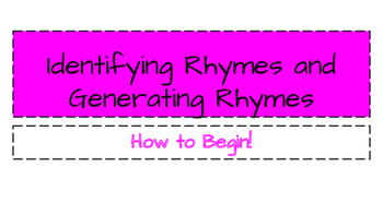 Identifying and Generating Rhymes