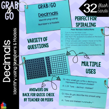 Identifying and Reading Decimals Grab & Go Flash Cards
