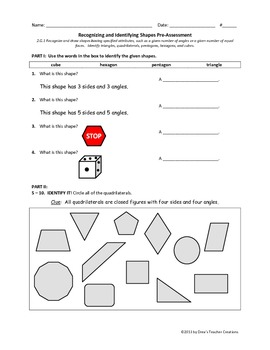 Identifying and Recognizing Shapes (Geometry) Assessments