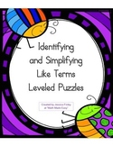 Identifying and Simplifying Like Terms Leveled Puzzles