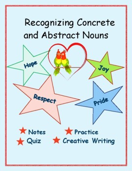 Abstract Nouns: Illustrated Graphic Organizers, Practice Pages, Creative Writing