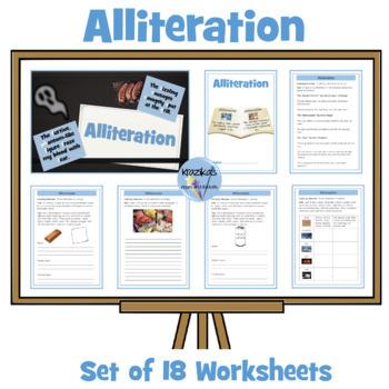 Identifying and Using Alliteration - Set of 12 Worksheets