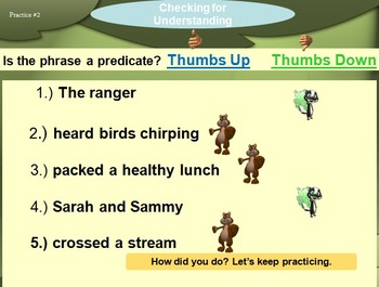 Identifying and Using Subjects and Predicates in the Great Outdoors