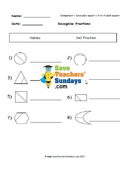 Identifying fractions  worksheets (3 levels of difficulty)
