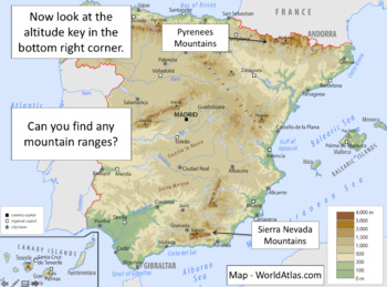 Map Of Spain For Children.Identifying Geographical Features Of Spain