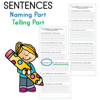 Identifying naming part and telling part of sentences