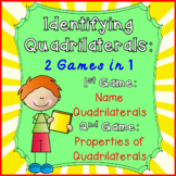 Quadrilaterals: Identifying and properties-geometry - 2 games CCSS 3.G.1 & 5.G.4