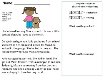Identifying story elements: character, setting, problem and solution
