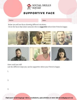 Social Skills Squad: Facial Expressions - Supportive