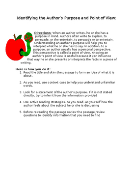 Identifying the Author's Purpose and Point of View in text- worksheet